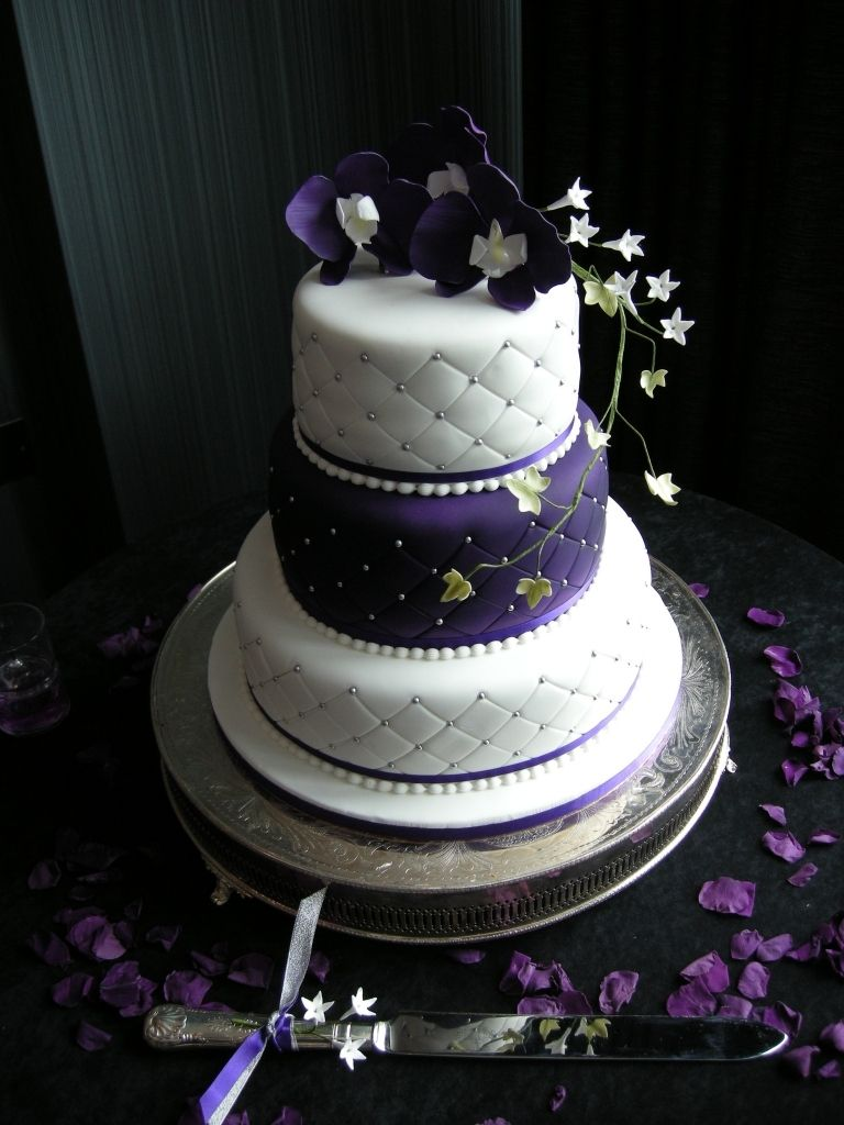 Purple And Silver Wedding Cake Wedding Cakes Ticky Dix Cakes ...