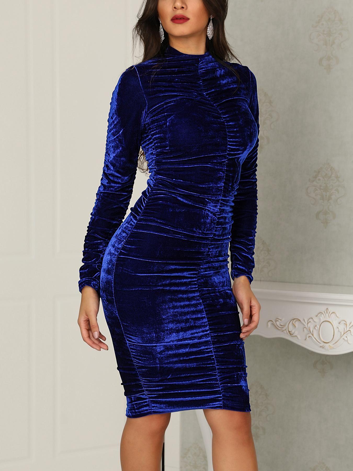 6fd332f589668 Velvet High Neck Scrunched Bodycon Dress #styleblog #stylegram  #styleblogger #fashiondiaries