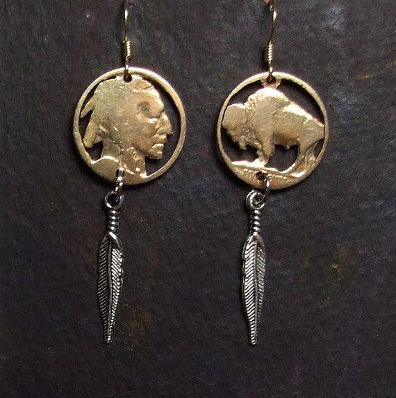 COIN CUT EARRINGS - Gold Plated Buffalo Earring - Indian