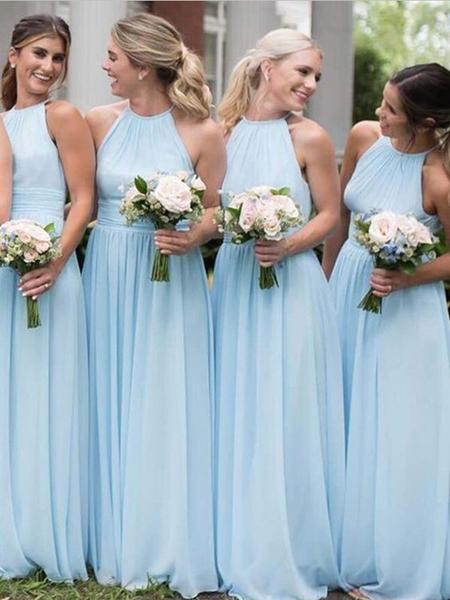 Cheap Light Blue A Line Halter Sleeveless Chiffon Long Bridesmaid Dresses, SW1035