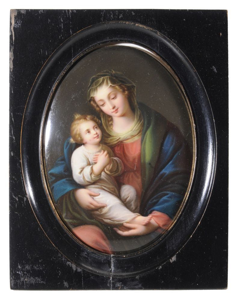 KPM porcelain oval plaque ~ Hand painted ~ Madonna & Child ~ Unsigned ~ Origin Germany ~ Circa 1901-1925