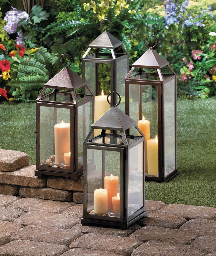 Large Contemporary Lantern Tall Lanterns Silver Candle Lanterns Outdoor Candle Lanterns