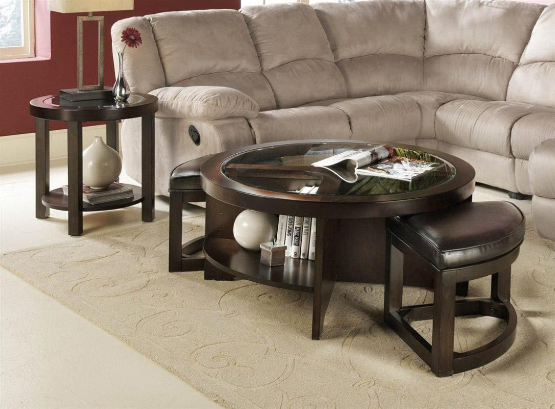 Round coffee table with stools underneath