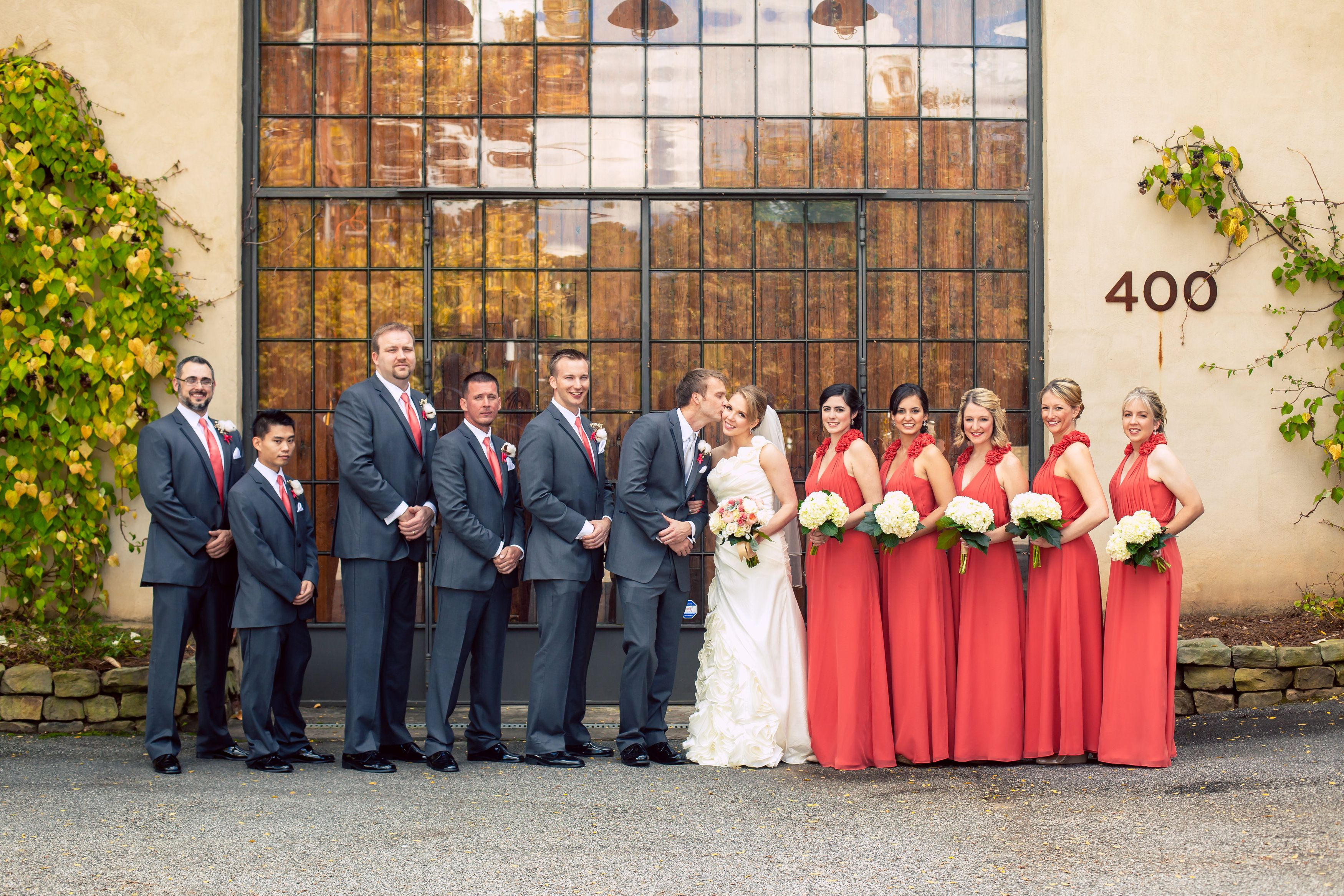 The groomsmen + bridesmaids with their favorite couple. ::Megan + Mark's bright + delightful wedding at the First Presbyterian Church and Summerour Studio in Atlanta, Georgia:: #wedding #photography #groupshot @Renata Sukopova Novara Events @Carrie Mcknelly's Bridal