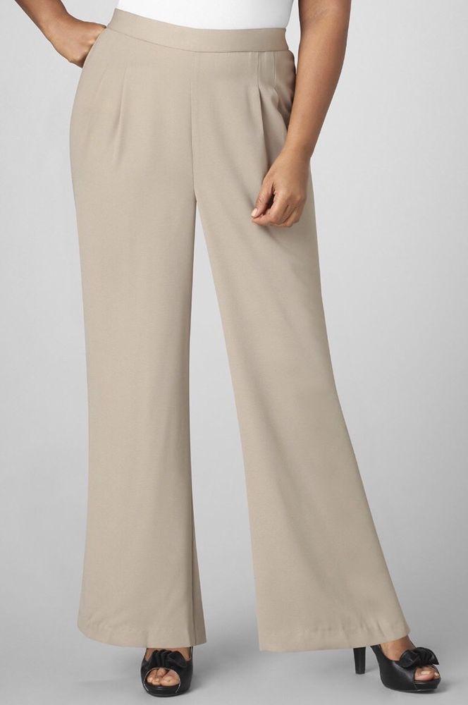 catherines crepe palazzo pants - khaki - plus size 5x (34/36