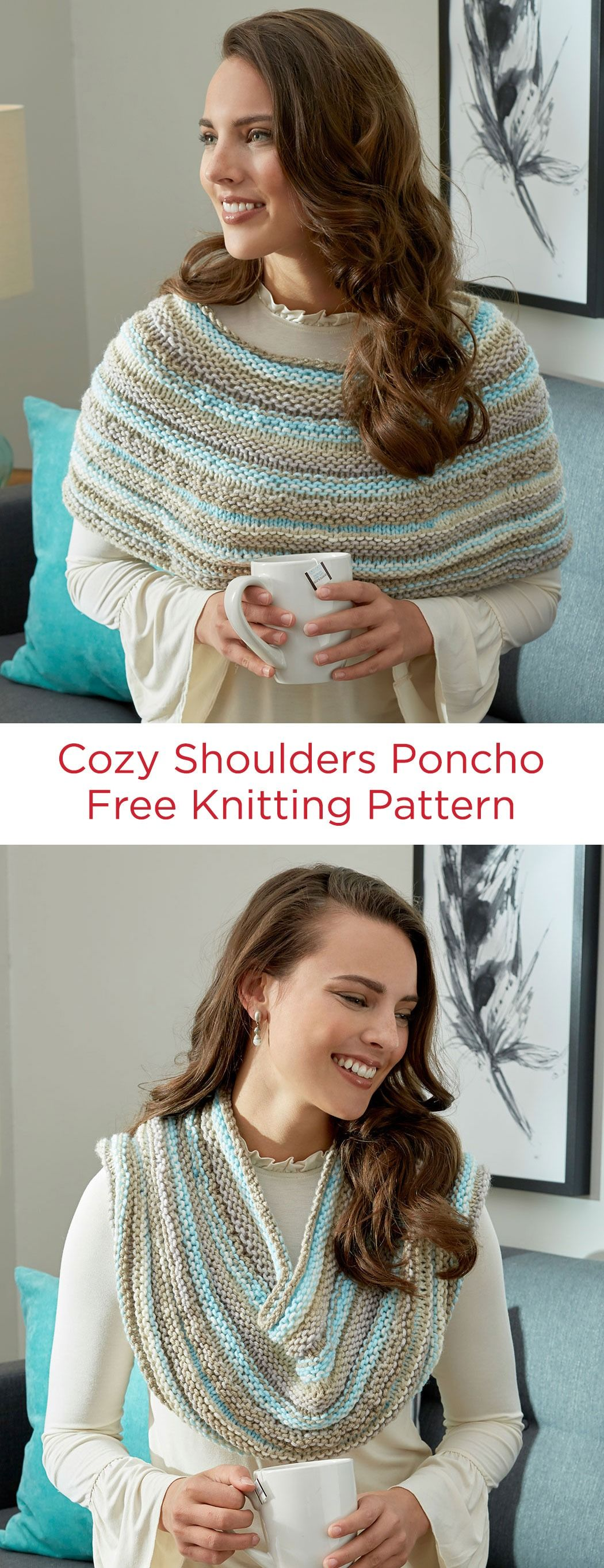 Cozy shoulders poncho free knitting pattern in red heart