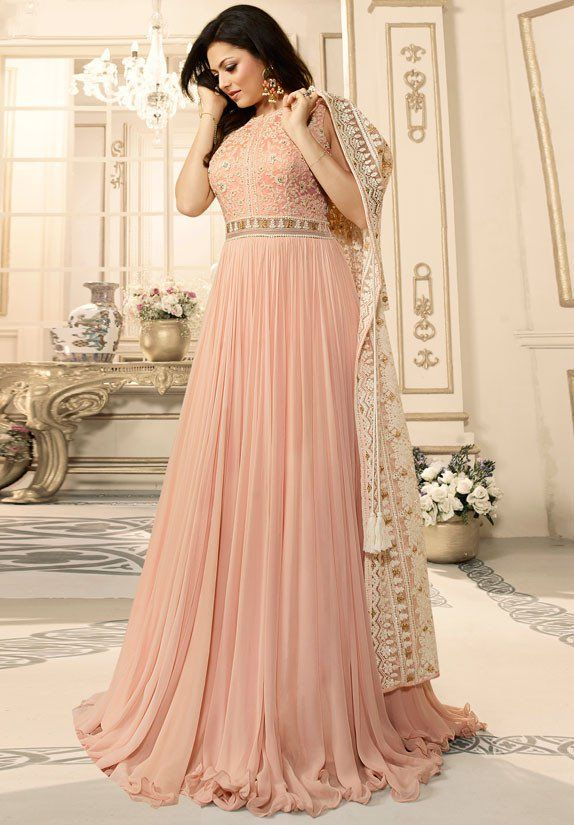 47ac52d632 Drashti Dhami Blush Peach Anarkali Suit with Jacket
