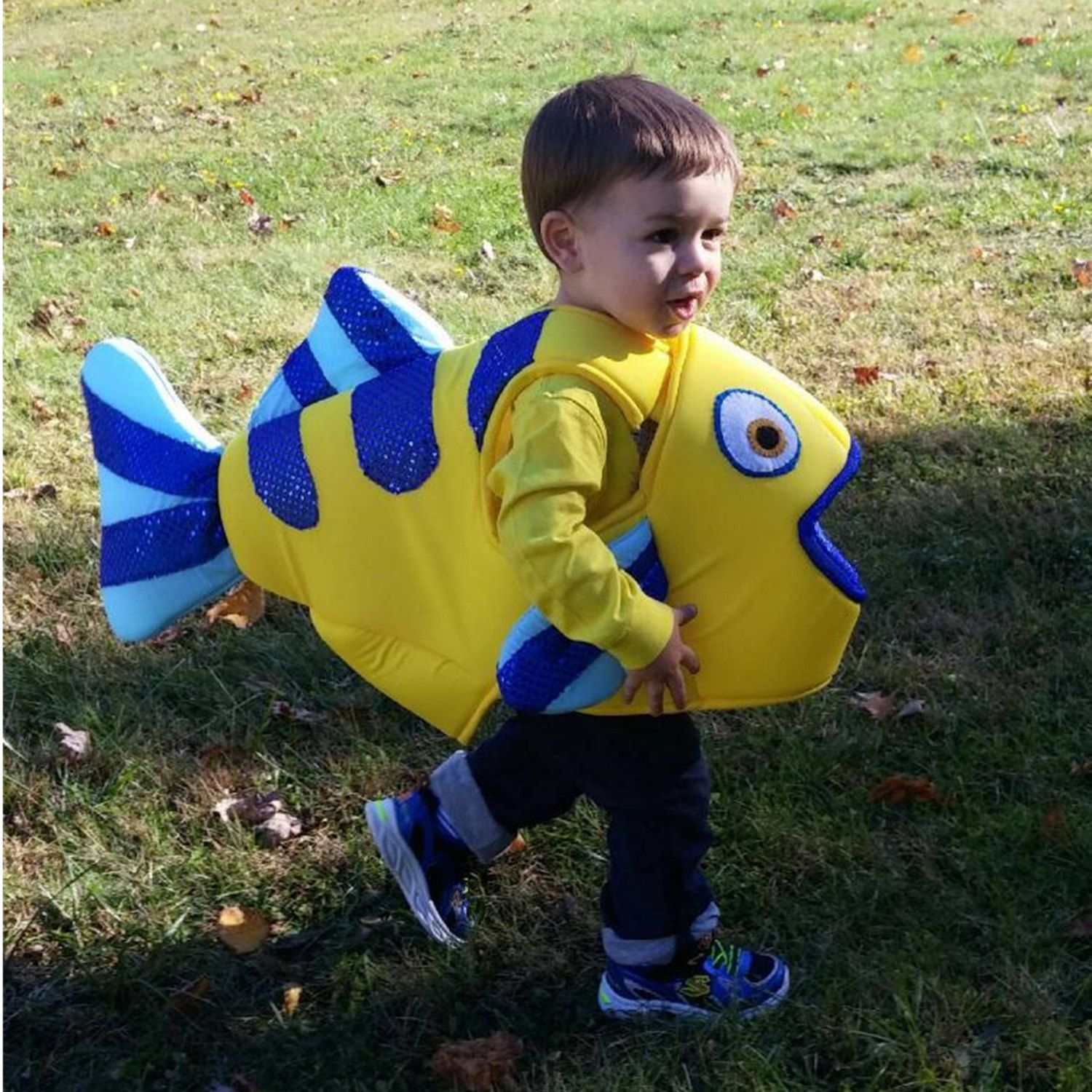 Flounder fish body costume satin covered foam body arm by for Baby fish costume