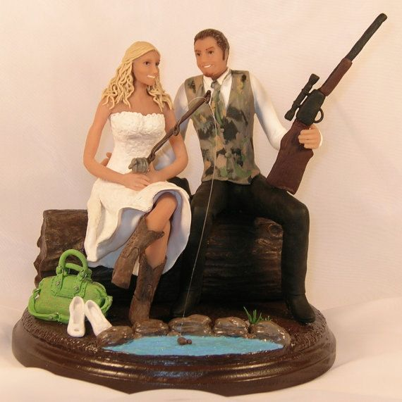 Hunting fishing wedding cake topper cowboy by for Fishing cake toppers