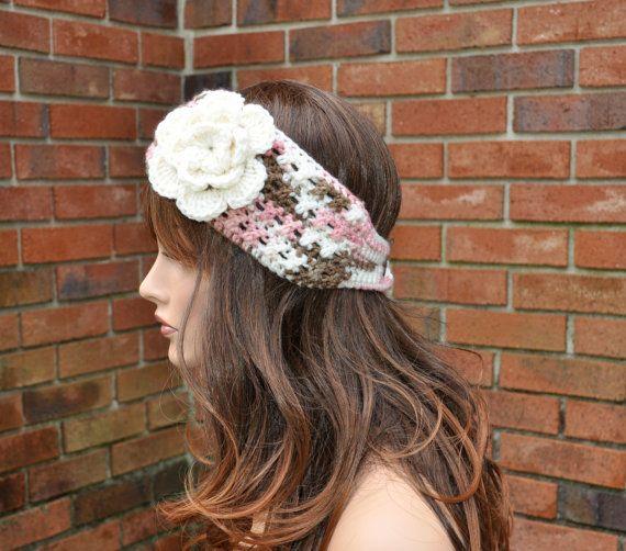 Crochet Ear Warmer, Crochet Headband with Flower in Multi color ...