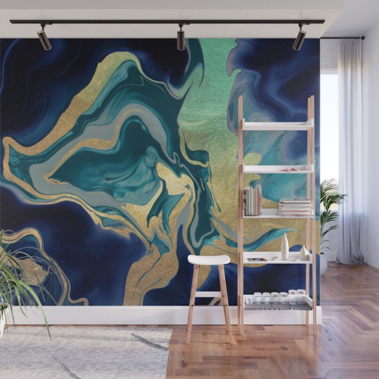 Give Your Home A Bold Accent Wall With Society6 S New Peel Stick Wall Murals Design Milk Marble Wall Mural Mural Design Wallpaper Accent Wall