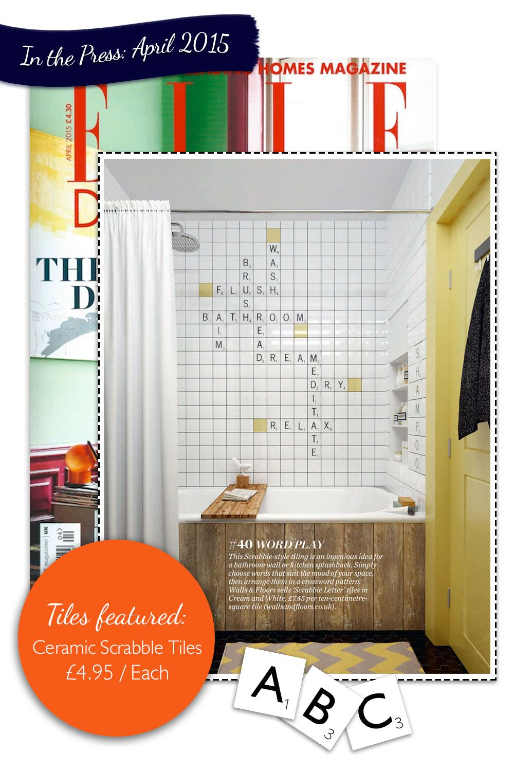 Say it with scrabble our playful scrabble tiles appeared in elle say it with scrabble our playful scrabble tiles appeared in elle decoration bathroom pinterest dailygadgetfo Image collections
