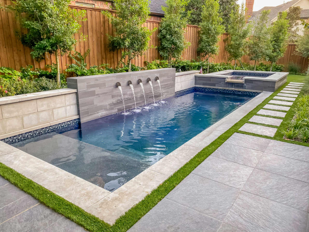 Rectangle Pool Entry Designs Long Side Google Search Backyard Pool Landscaping Pools Backyard Inground Lap Pools Backyard