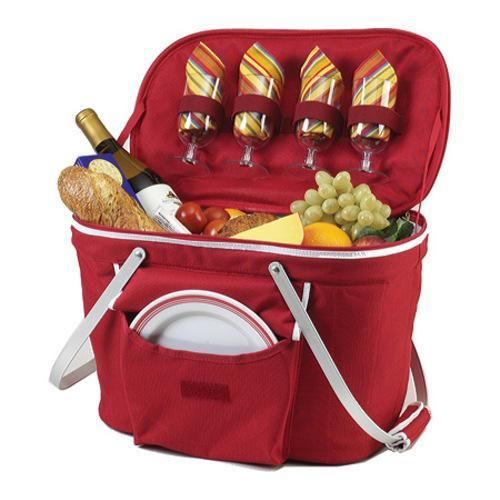 Picnic at Ascot Collapsible Insulated Picnic Basket for Four Red - Overstock Shopping - Big Discounts on Picnic at Ascot Picnic Baskets