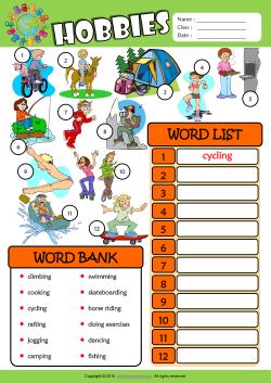 hobbies for kids. hobbies esl find and write the words worksheet for kids e