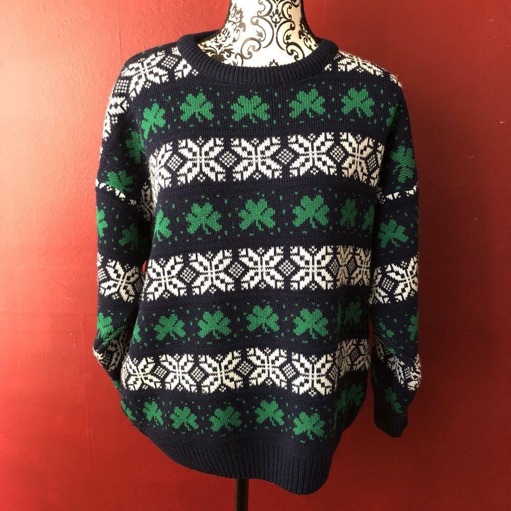 Shamrock Fair Isle Irish Sweater Womens Large VTG St