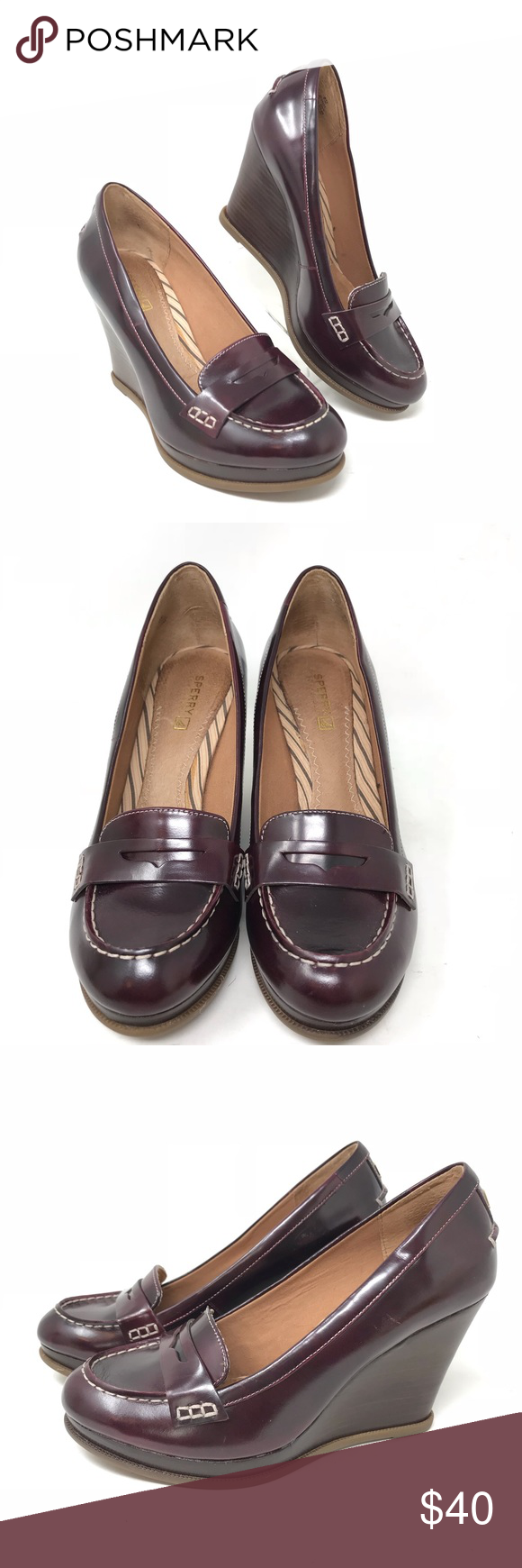 273b87a6ccb Sperry Top Sider Size 8 Leather Penny Loafers Sperry Top Sider Women s Size  8 Windstar Cordovan Leather Penny Loafers Wedge Great condition Sperry Shoes  ...