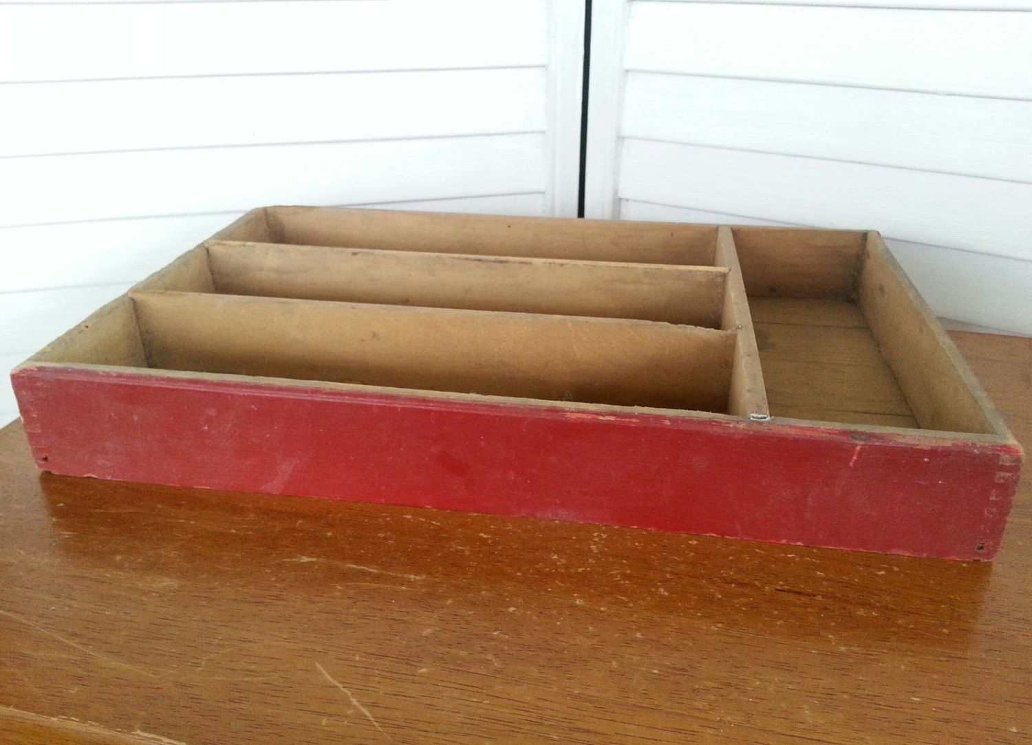 Vintage red wooden drawer tray desk tray divided by FunsizeVintage, $18.00