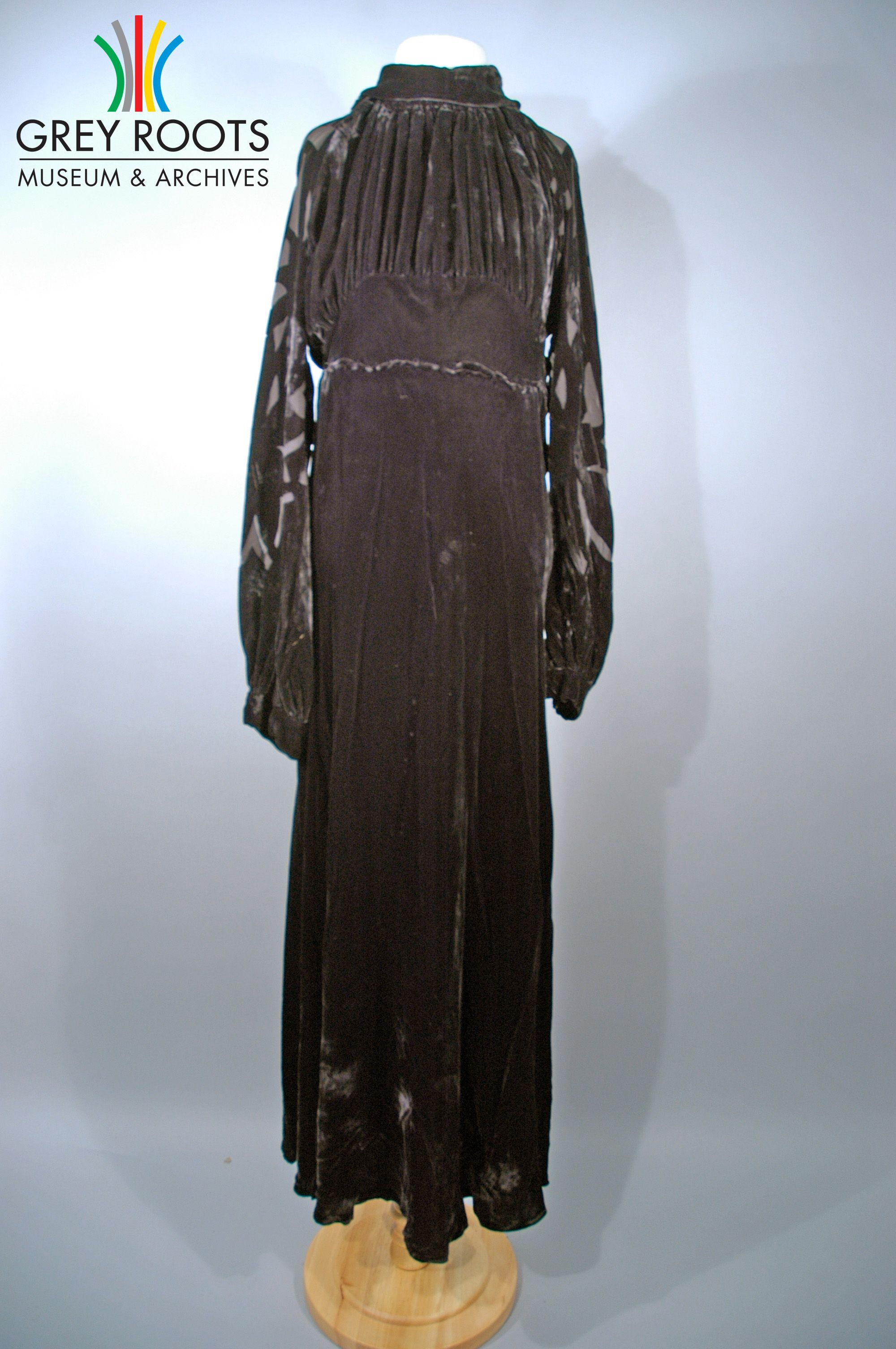 A black velvet dress with long sleeves grey roots museum u archives