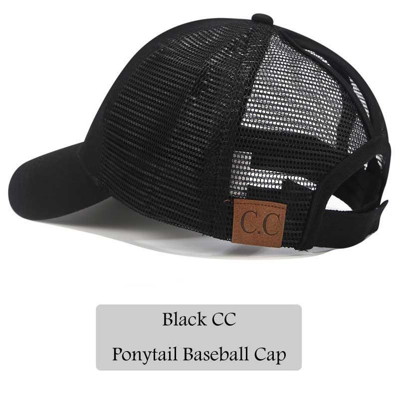 279438a9f2eb 2018 CC Glitter Ponytail Baseball Cap Women Snapback Hat Summer Messy Bun  Mesh Hats Casual Adjustable Sport Caps Drop Shipping