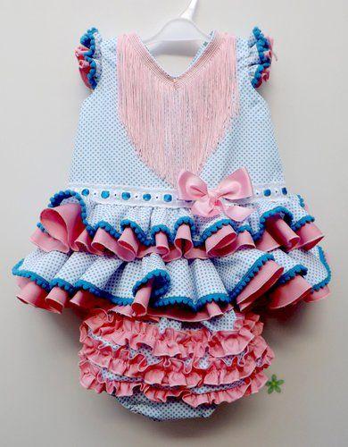 a28dba613 Traje de flamenca de bebé blanco con lunares turquesa