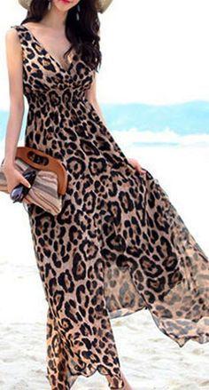 c654e9b92 Leopard Print Maxi Dress Vestido Largo Informal