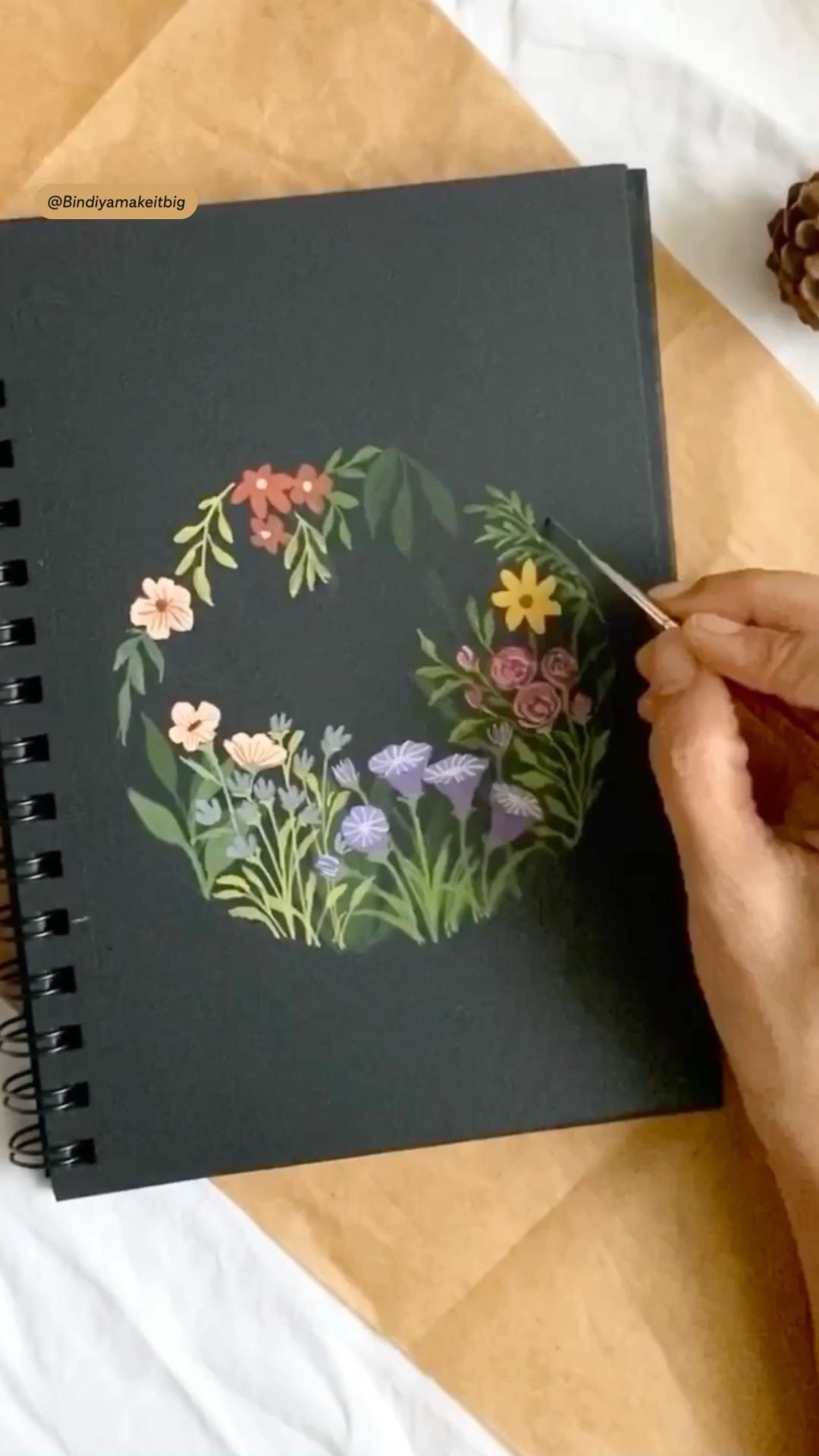 Florals on black sketch  book