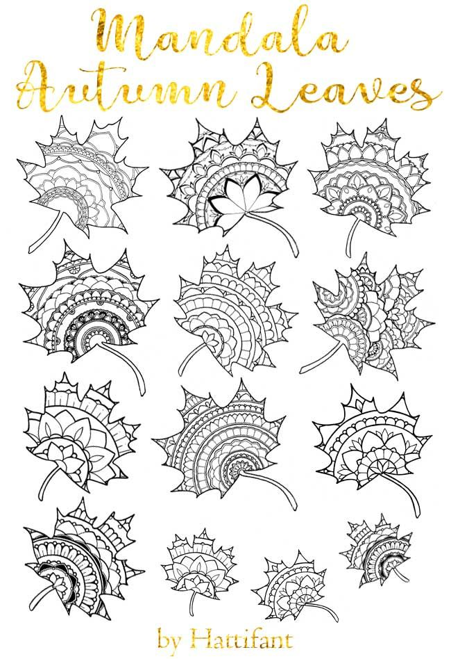 Sun Catcher Mandala Autumn Leaves Coloring ideas