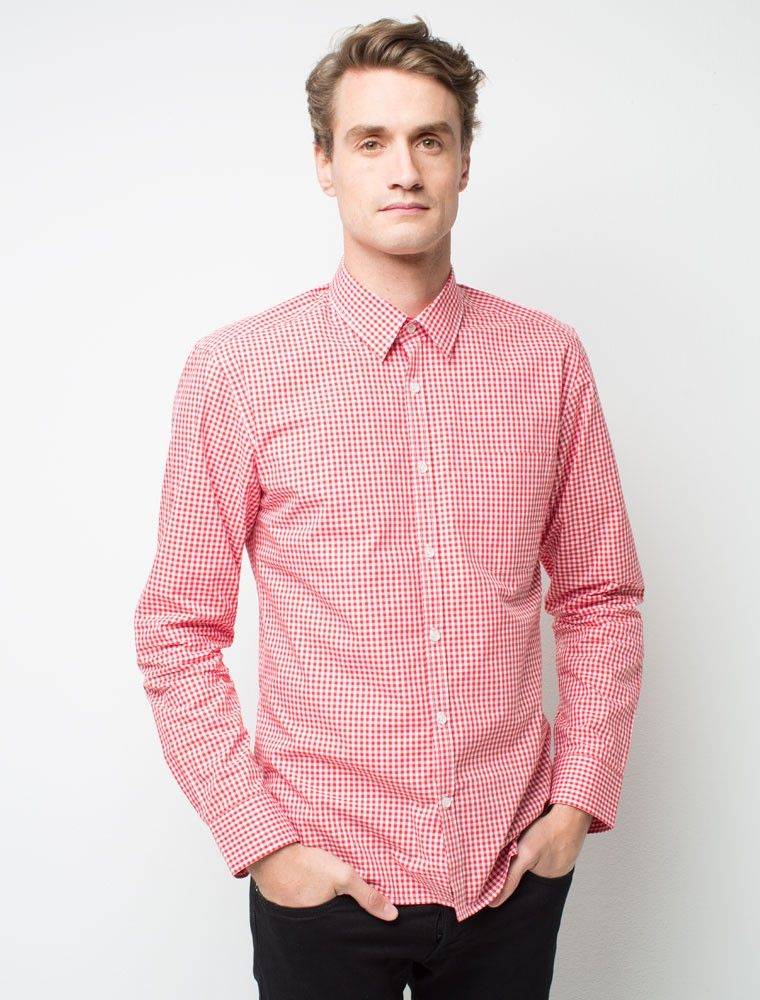 Stand Out Designs Shirts : Men s max check long sleeve shirt red staff