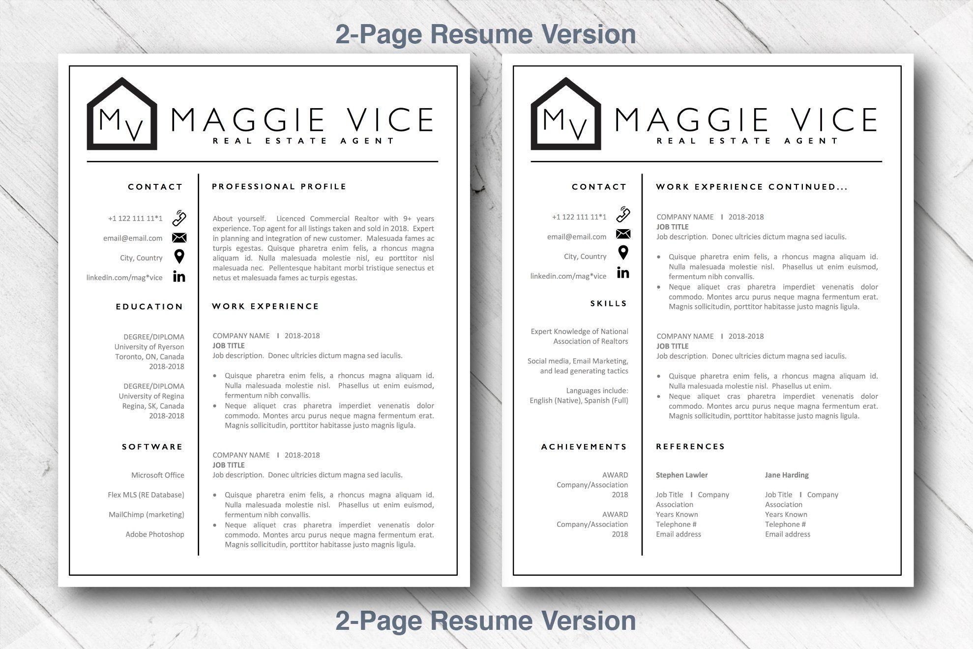 Resume Template Real Estate Agent Cv Resume Resume Template Real Estate Agent