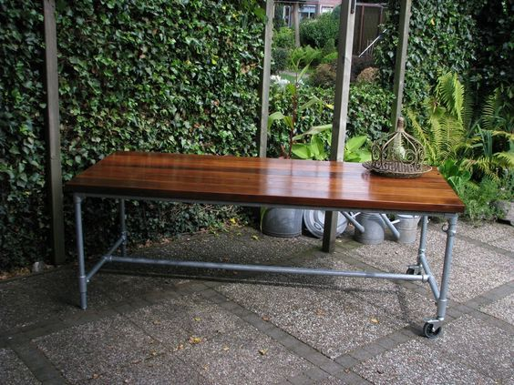 Dark Brown Wood Table Top Patio