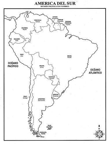 Mapa de Sudamérica para Colorear: Dibujos e Imágenes de América del ...