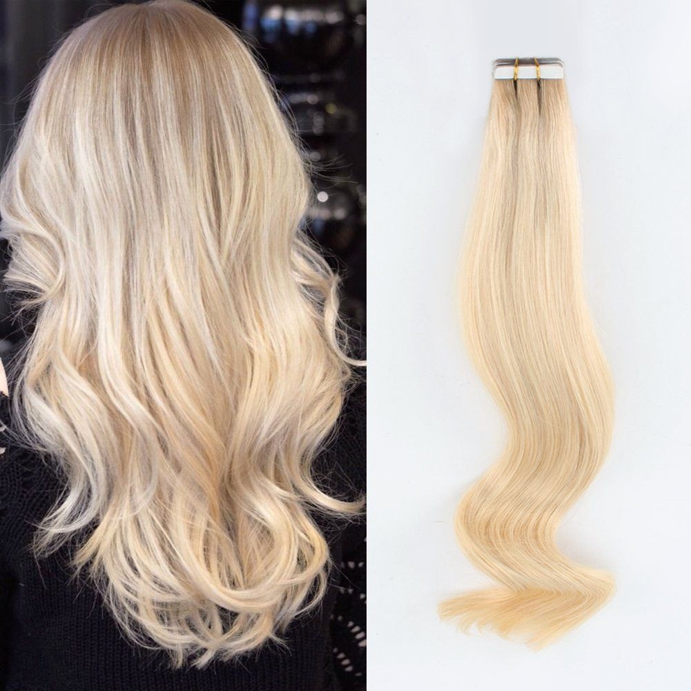 Dark roots blonde tapein extensions amazingbeauty invisible pre
