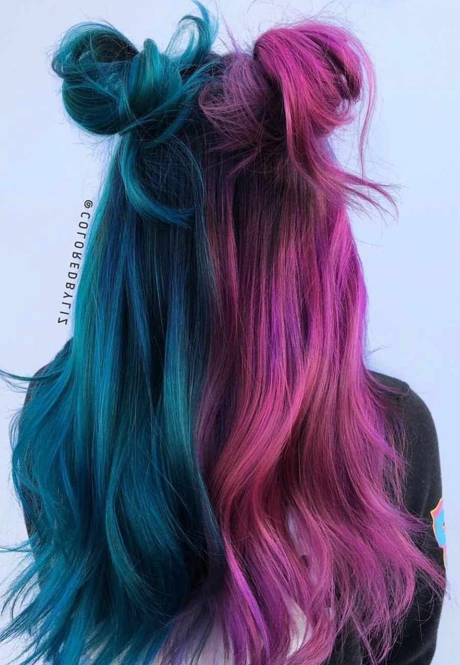 The Stunning Hair Colors Ideas To Try This Season Hair Styles Unnatural Hair Color Split Dyed Hair