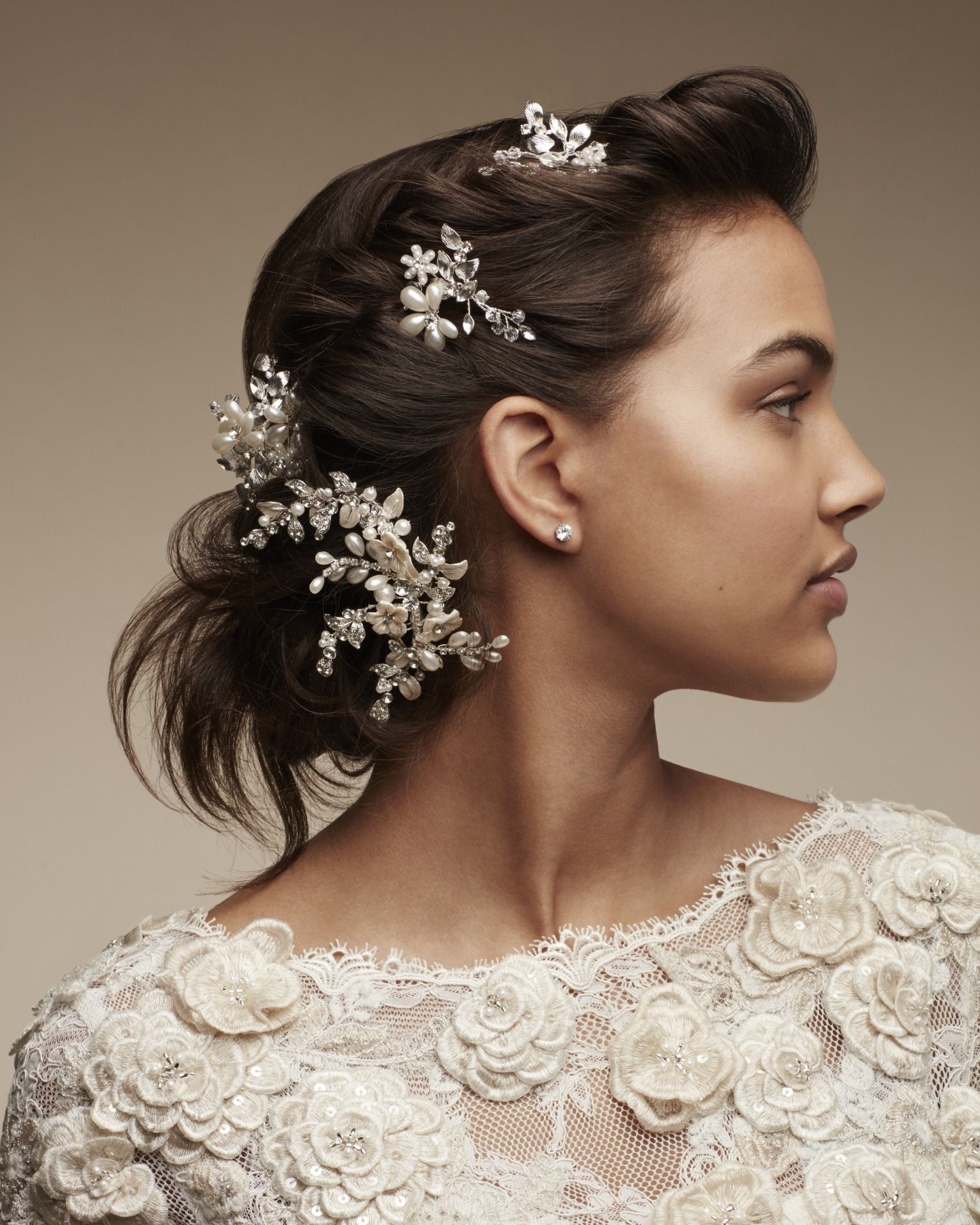 why stop at one wedding hair accessory when you can layer multiple