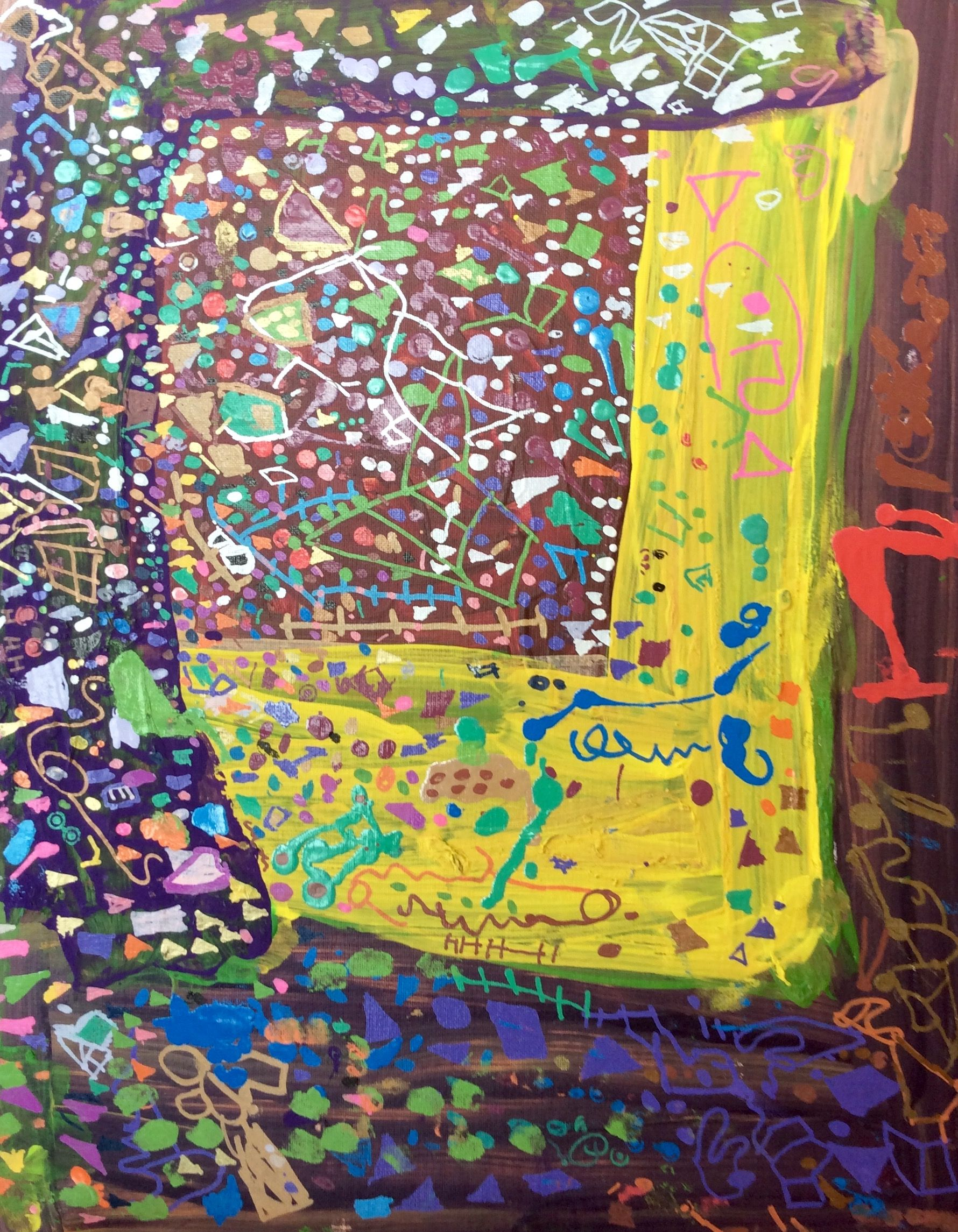 """Spire artist Kevin Richardson. Acrylic on canvas board.  16x20"""". (#439) """"Party Pieces"""". $34.86. Visit our website to learn more about our program or how to purchase art.  http://www.mcbdds.org/419/Spire-Arts"""