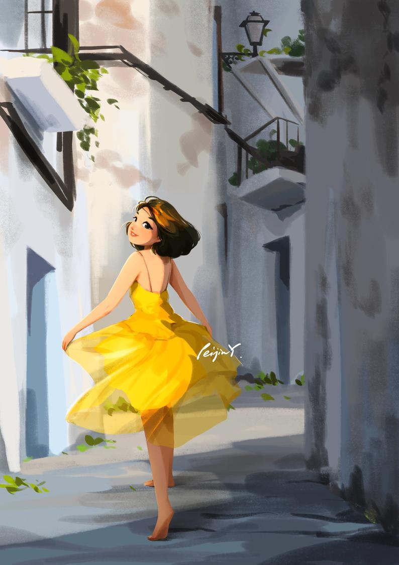 Miss Sunshine - Art Print - Vacation Mood - Having Fun - Old Town - Little Yellow Dress - Peijin