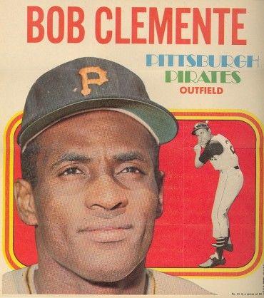 1970 Roberto Clemente Insert Poster Baseball Vintage