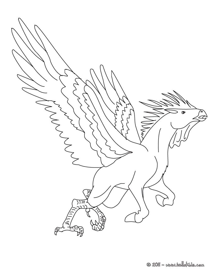 Kleurplaat HIPPALECTYRON The Fabulous Rooster Horse Creature Coloring Page