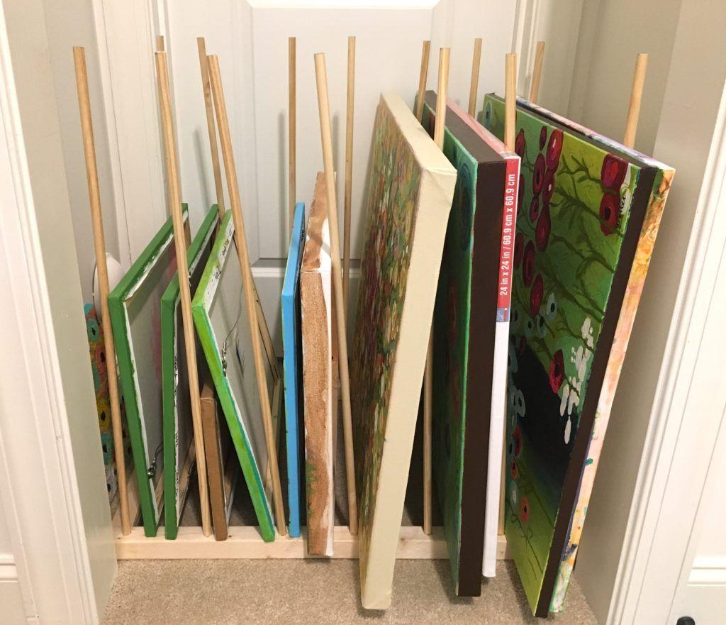 Diy canvas storage rack art storage canvas storage