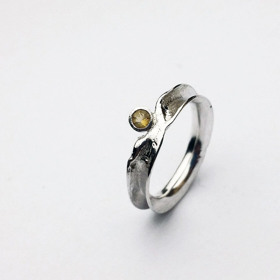 'Treasure Ring' by Caroline Stokesberry-Lee.  Reticulated anticlastic sterling silver ring with 3mm citrine.  One of a kind available in size N ♥    http://www.carolinestokesberrylee.com/shop