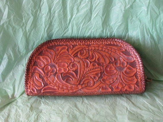 Beautiful Vintage 1950s Hand Tooled Floral Western Style Half Moon Shaped Purse Clutch Bag! Faux Ostritch Embossed Inside with Zipper! on Etsy, $45.00