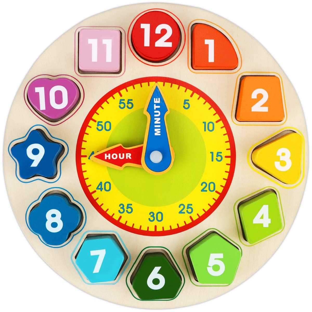 Homeschool Montessori Time Clock Toddlers Clock Wooden Circle Time Clock Sorting Clock Game Tell Time Game Educational Toy