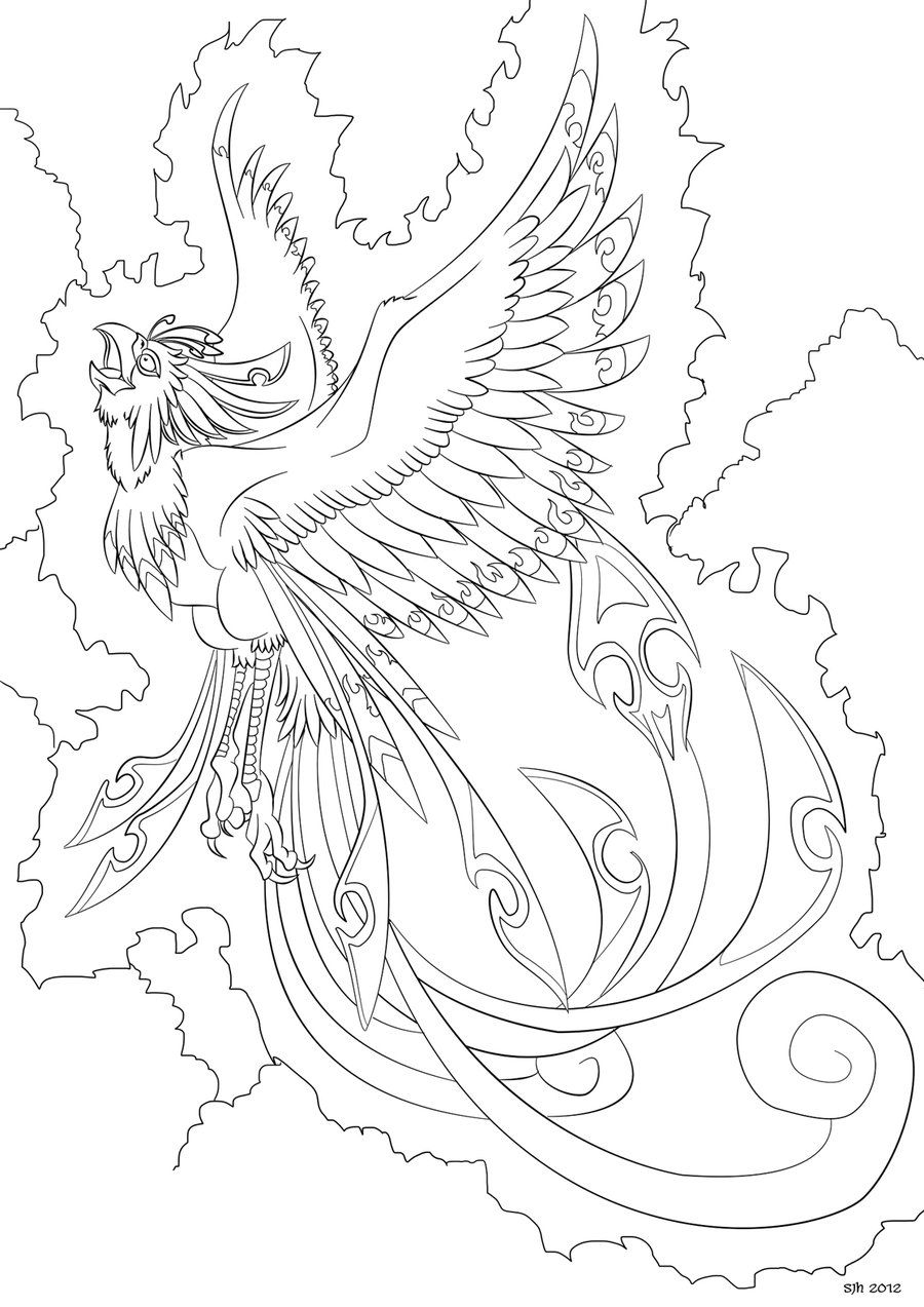 Coloring Pages Phoenix: Phoenix: Coloring In Page 8 By Darkly-shaded-shadow
