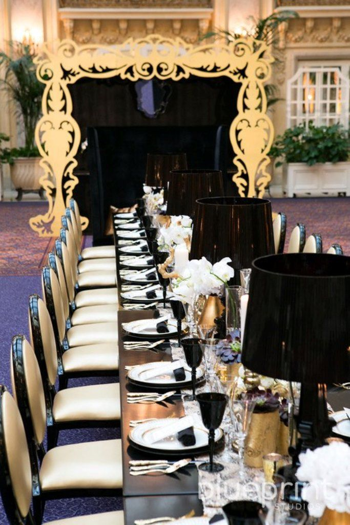 Gold And Black Wedding Tablescape Modern Chic Weddings Pinterest