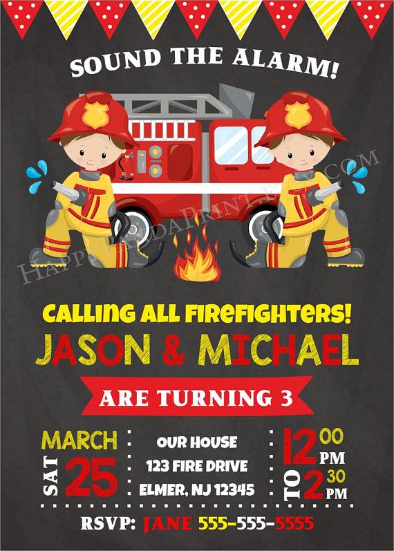fireman invitation firefighter birthday invitation firetruck etsy in 2021 firefighter birthday fire fighter birthday party fire man birthday party