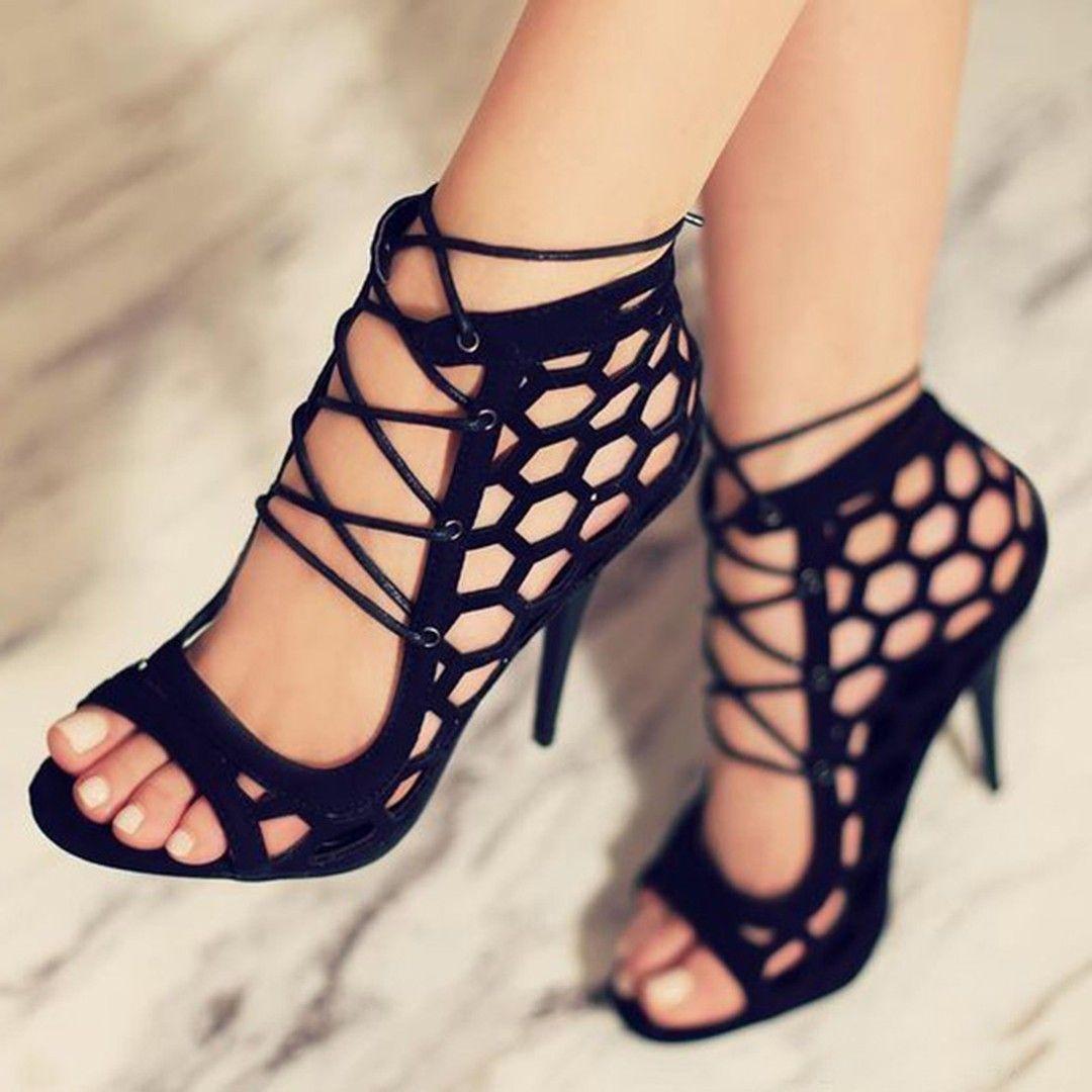 d32aaf651d2 Hexagon Cut Lace Up Sandals | Elegant Sandals | Shoes, Heels outfits ...