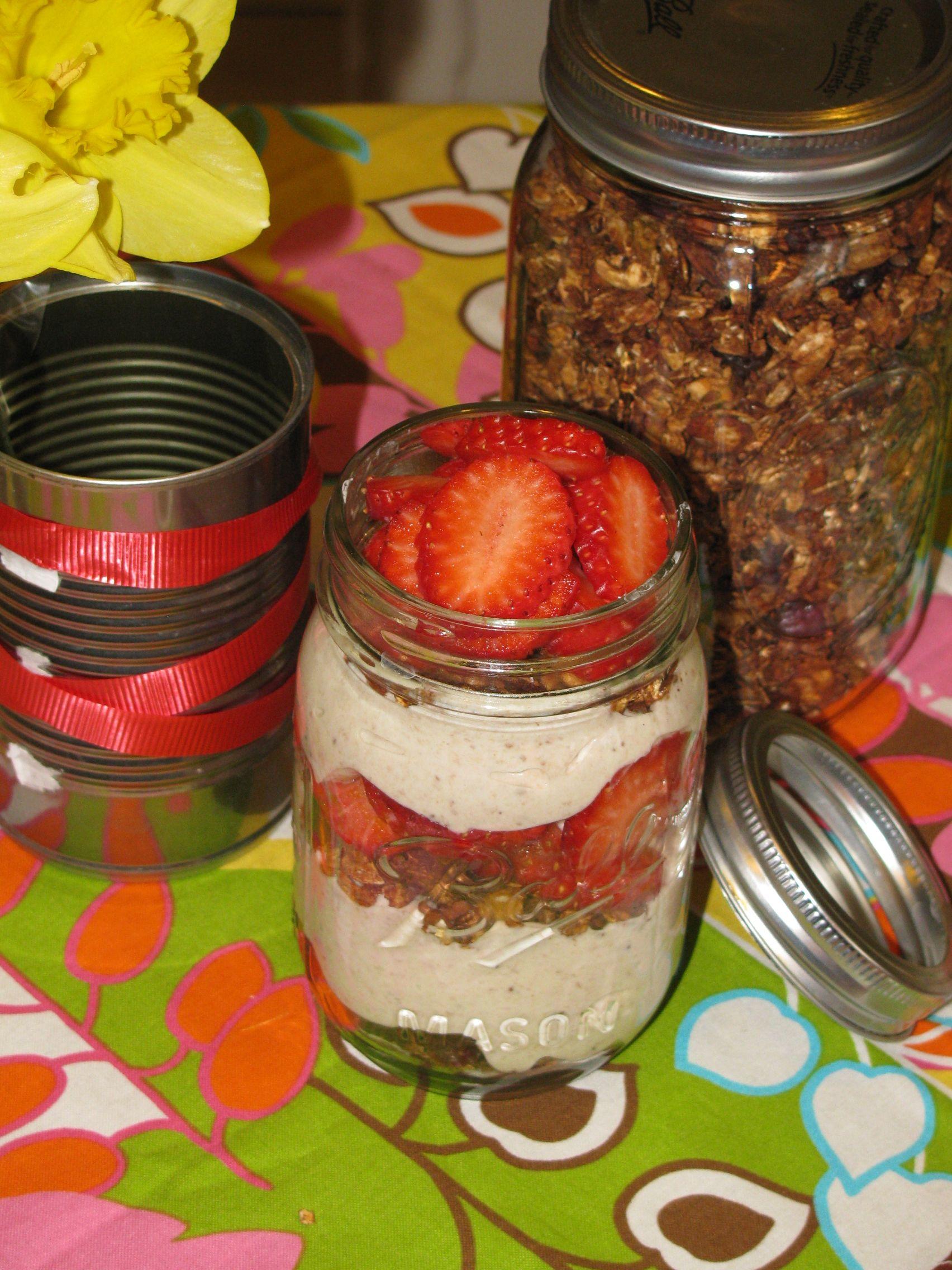 Easy Strawberry Yogurt with Chocolate Granola Topping