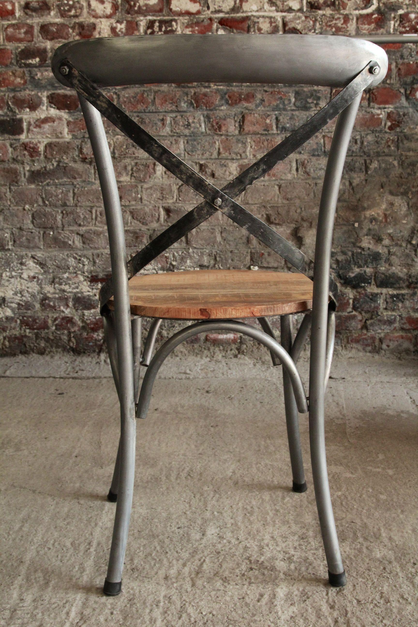 Chaise bistrot industrielle bois et métal MAKKO HOME