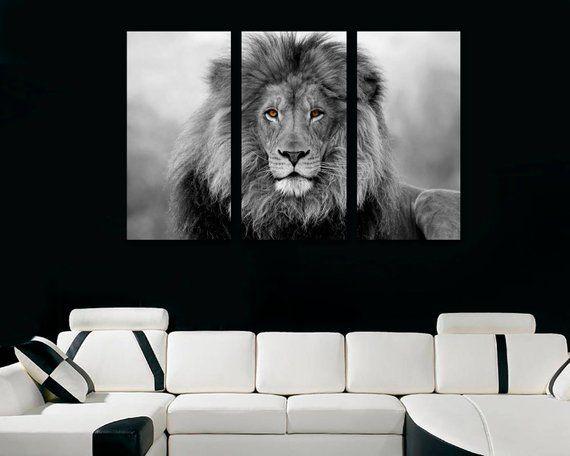 23813286c African Lion Wall Art Canvas Print Black & White - 3 Panel Split, Triptych Wall  Decor, Home Decor, L
